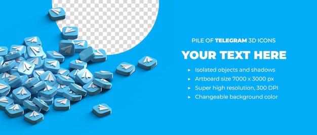 Куча разбросанных 3d значков кнопки логотипа телеграммы в социальных сетях с пространством copyspace