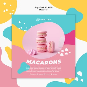 Pile of pink macarons square flyer template