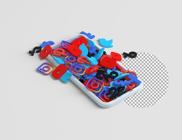 Pile of popular 3d social media icons coming out of phone