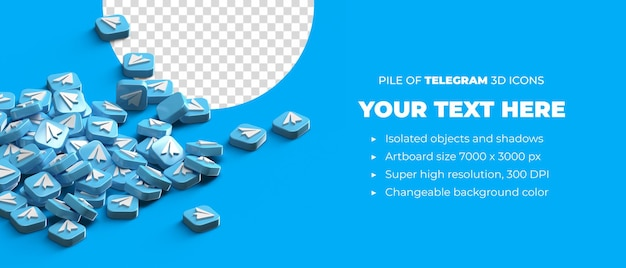 Pile of scattered 3d telegram logo button icons social media concept with copyspace space