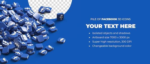Pile of scattered facebook logo icons 3d render social media banner