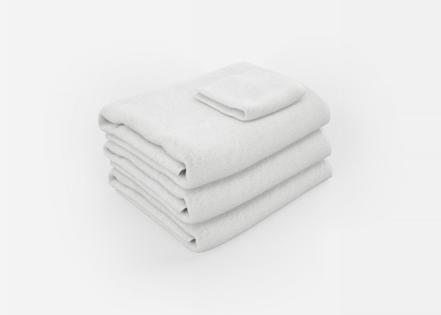 Pile of towels on white