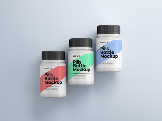Бутылка таблеток с редактируемым дизайном макета psd