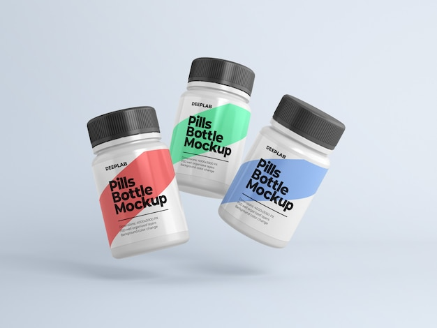 Pill bottle with editable design mockup psd