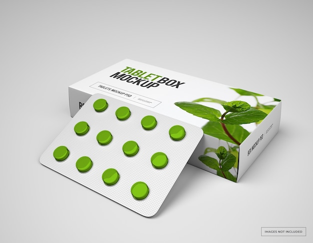 Pill box mockup with loafs of tablets