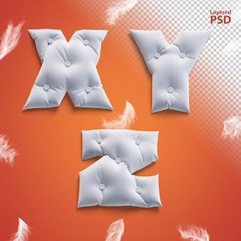 Pillow 3d letters with feathers. letter x, y, z.