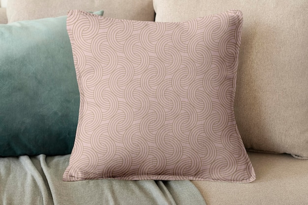 Pillow cushion cover mockup psd in floral pattern interior design