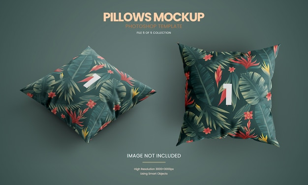 Pillow on ground mockup set
