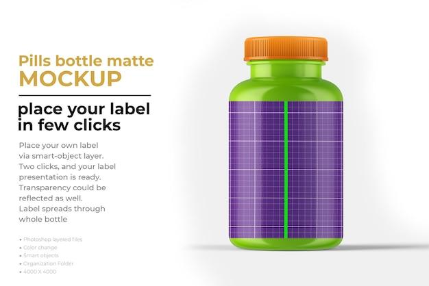 Матовый макет бутылки таблеток в 3d-рендеринге