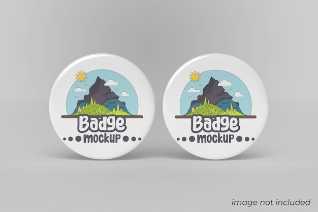 Pin badge mockup design isolated