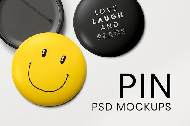 Pin badge mockup set psd, davanti e dietro