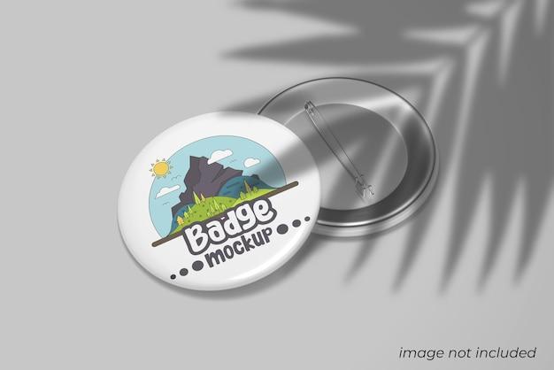 Pin badge mockup with shadow overlay