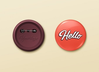 Pin Buttons mockup PSD template