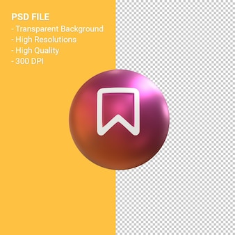 Pin icon for instagram 3d balloon symbol rendering isolated