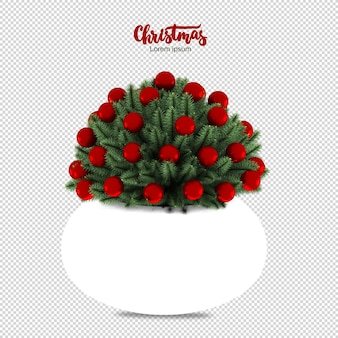 Pine branches vase in 3d rendering isolated