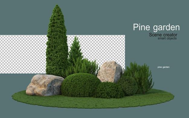 다양한 형태의 소나무와 암석