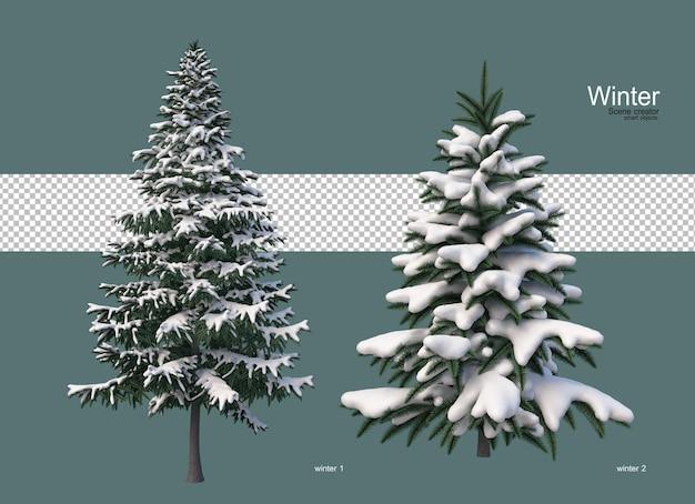 겨울에는 다양한 크기의 소나무
