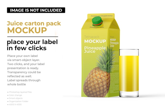 Pineapple juice carton pack mockup