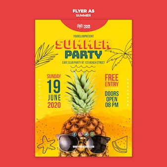 Pineapple with sunglasses summer flyer