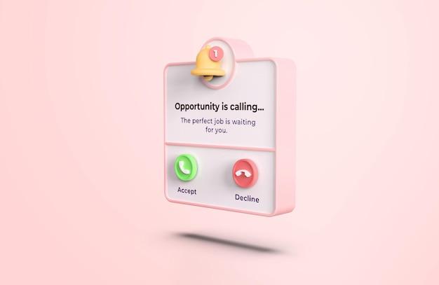 ピンクの3dコーリングインターフェイスモックアップ