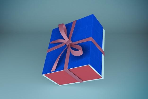 Мокап розово-синей подарочной коробки