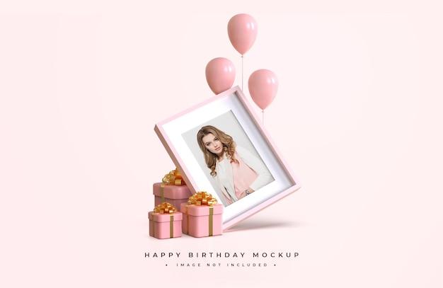 Розовый и золотой с днем рождения макет