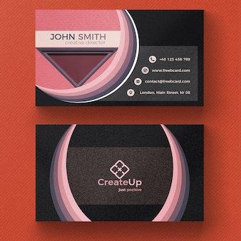 Pink and gray business card