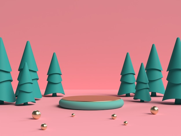 製品ディスプレイ用の抽象的なシーンジオメトリシェイプ表彰台のピンクとグリーンの3dレンダリング
