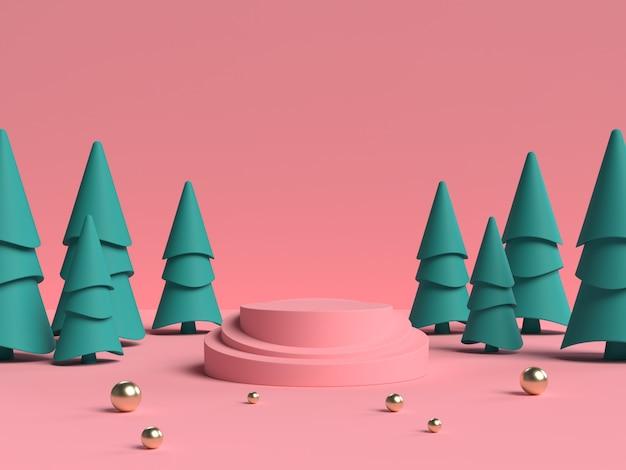 제품 표시를위한 추상 장면 기하학 모양 연단의 분홍색과 녹색 3d 렌더링