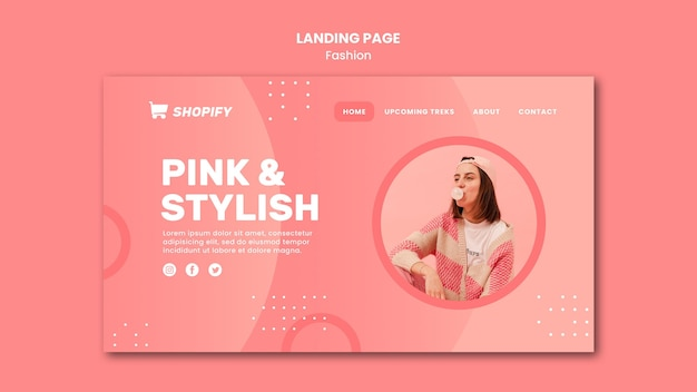 분홍색과 세련된 방문 페이지 템플릿
