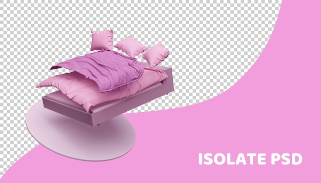 Pink bed and bedding in 3d render isolated