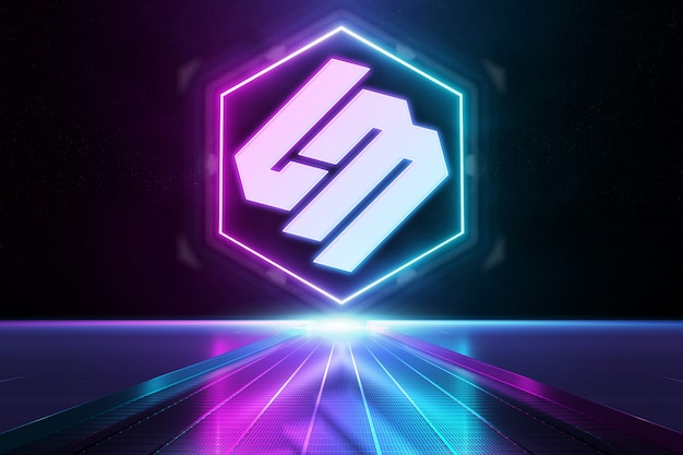 Pink and blue reflective neon light logo mockup
