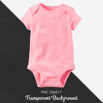 Pink bodysuit for baby on transparent background