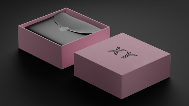 브랜드 아이덴티티를위한 핑크 박스 럭셔리 로고 모형