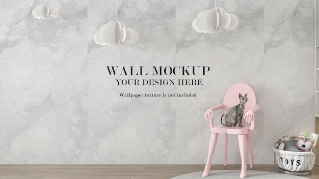 Pink chair with cat in front of wall mockup