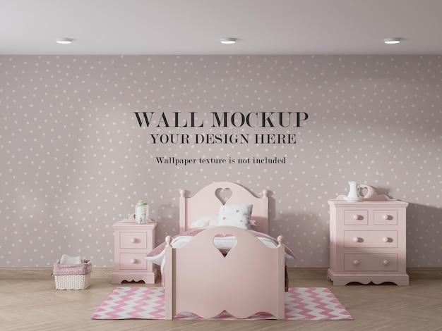 ピンクの子供の寝室の壁のモックアップデザイン
