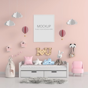 Pink child bedroom with frame mockup
