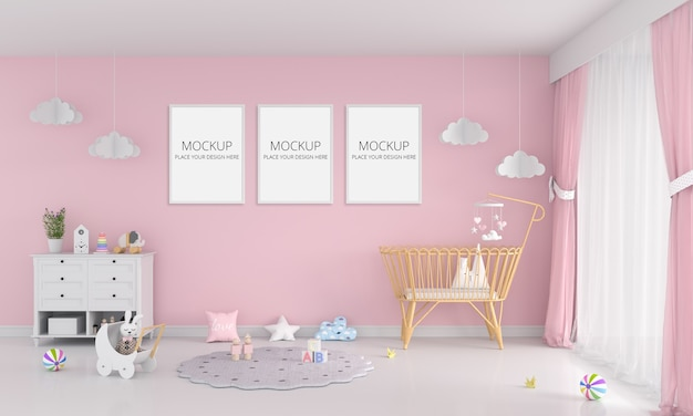 Pink child room with frame mockup