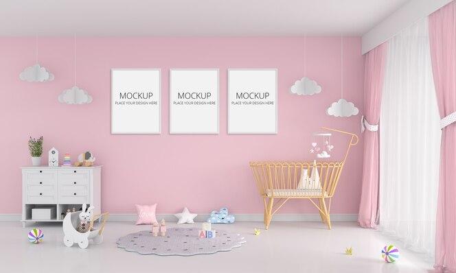 フレームモックアップ付きピンクの子供部屋