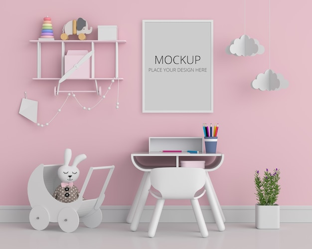 Розовая детская комната с рамным макетом