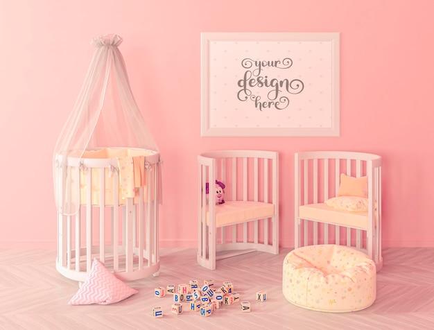 Pink children bedroom with frame mockup in 3d rendering