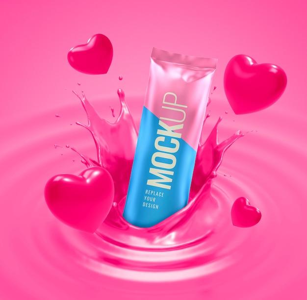 Pink chocolate splashing advertising pouch mockup