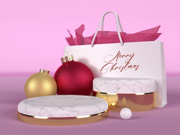 Pink christmas card with marbled round podiums with shopping bag mockup