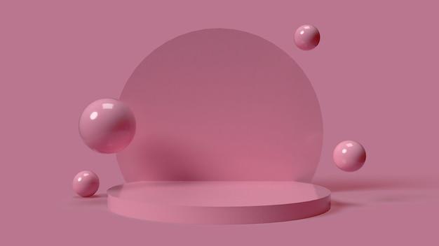 オブジェクトを配置するためのピンクの円形3d表彰台