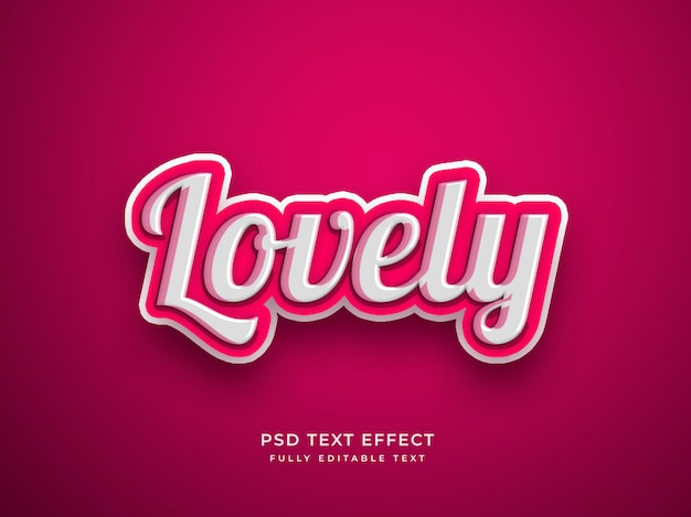 Pink color lovely 3d text effect