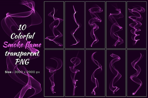 Pink color smoke flame transparent collection