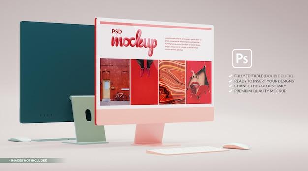 3dレンダリングでのブランディングプレゼンテーション用のピンクのコンピューターモニターモックアップ