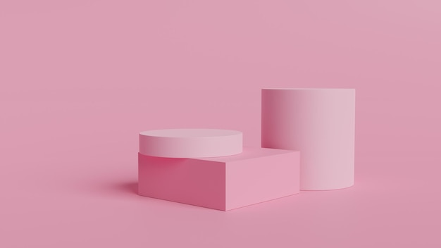 Pink coral shapes on a coral abstract geometric podium 3d rendering