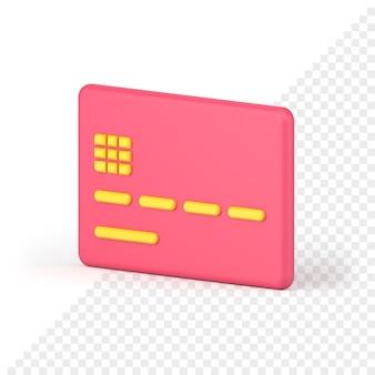 Розовый значок кредитной карты 3d визуализации. пластиковый прямоугольник с желтыми полосами кода и микросхемой. бесконтактная оплата путем зачисления средств на банковский счет. цифровая покупка и продажа.