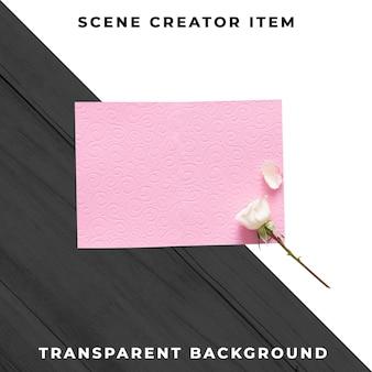 흰 장미와 핑크 빈 인사말 카드입니다. 결혼식이나 발렌타인 개념. 클리핑 패스와 함께 격리.